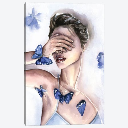 Blue Butterfly Canvas Print #KIB2} by Kira Balan Art Print