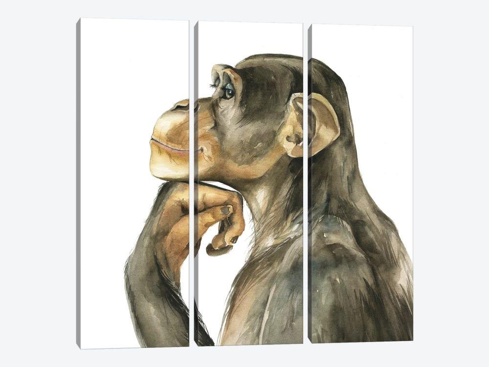 Monkey by Kira Balan 3-piece Canvas Art Print