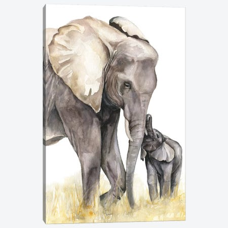 Elephants Canvas Print #KIB47} by Kira Balan Canvas Print