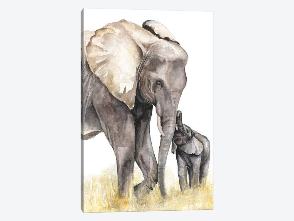 Elephants by Kira Balan 1-piece Canvas Art Print