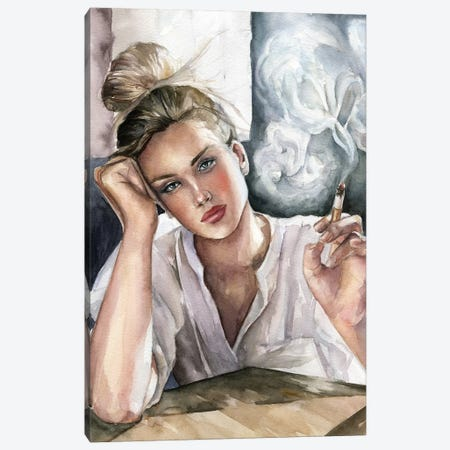 Girl With Cigarette Canvas Print #KIB7} by Kira Balan Canvas Art