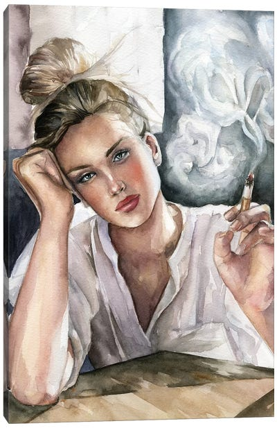 Girl With Cigarette Canvas Art Print