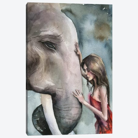 Girl With Elephant Canvas Print #KIB8} by Kira Balan Canvas Art Print