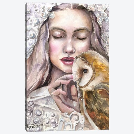 Girl With Owl Canvas Print #KIB9} by Kira Balan Art Print