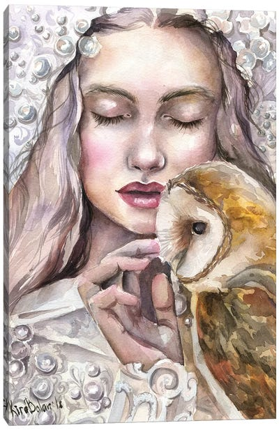 Girl With Owl Canvas Art Print