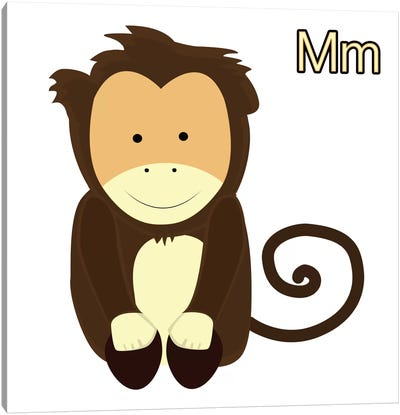 M is for Monkey Canvas Print #KID12