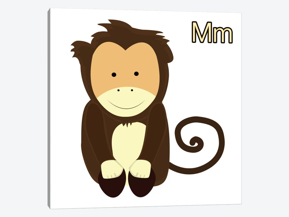 M is for Monkey by 5by5collective 1-piece Art Print