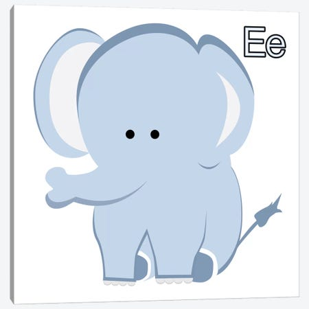 E is for Elephant Canvas Print #KID13} by 5by5collective Art Print