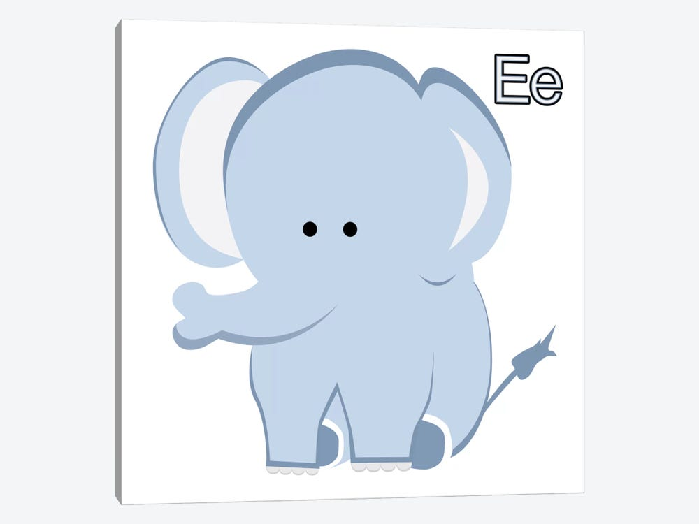 E is for Elephant by 5by5collective 1-piece Canvas Artwork