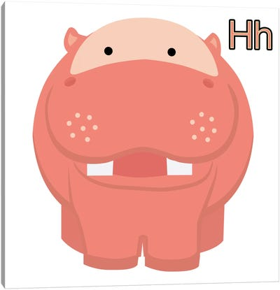 H is for Hippo Canvas Art Print