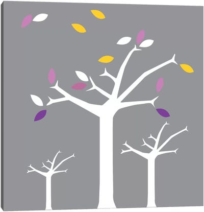 Autumn Trees Gray Canvas Art Print