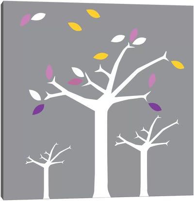 Autumn Trees Gray Canvas Art Print
