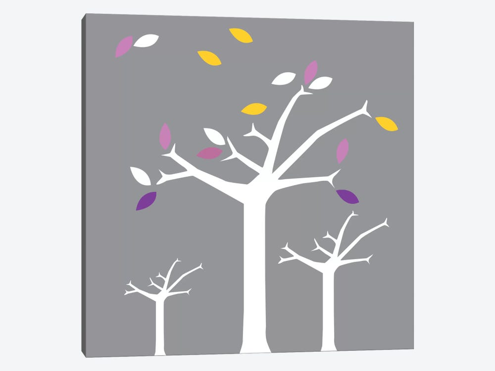 Autumn Trees Gray by 5by5collective 1-piece Canvas Art Print