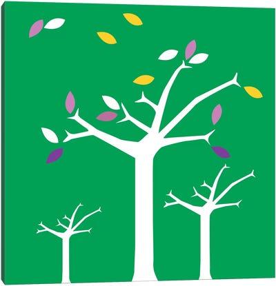 Autumn Trees Green Canvas Art Print