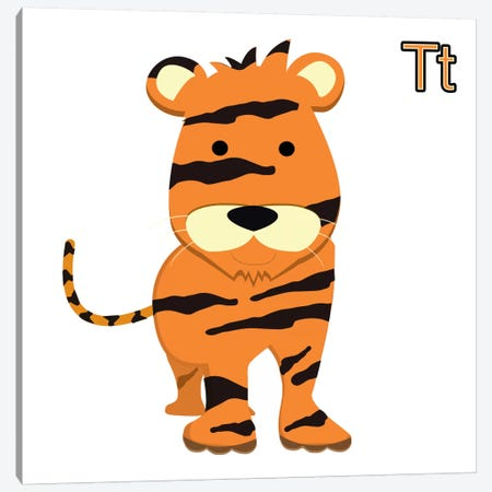 T for Tiger Canvas Print #KID1} by 5by5collective Art Print