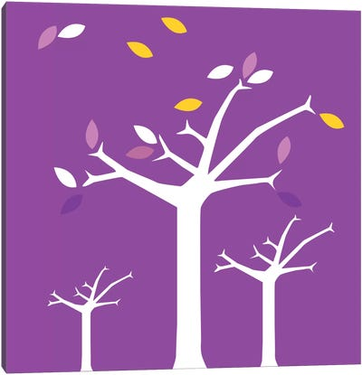 Autumn Trees Purple Canvas Art Print