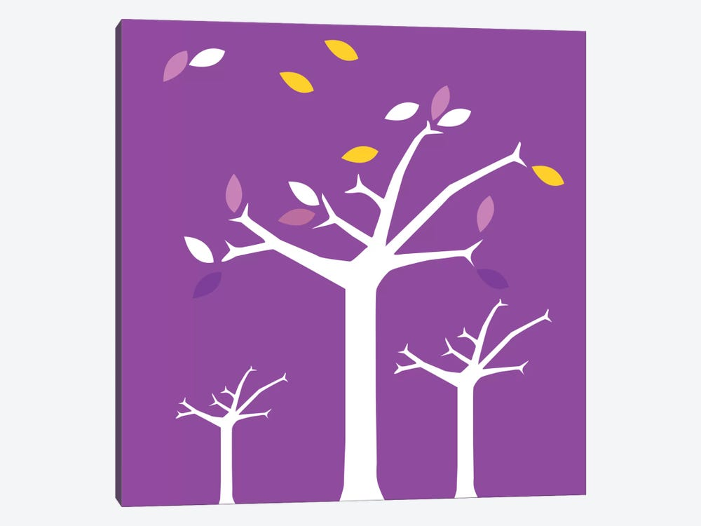 Autumn Trees Purple by 5by5collective 1-piece Canvas Wall Art