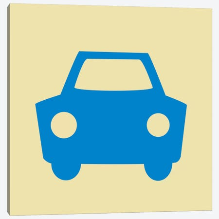 Beep Beep Blue Car Canvas Print #KID23} by 5by5collective Canvas Wall Art