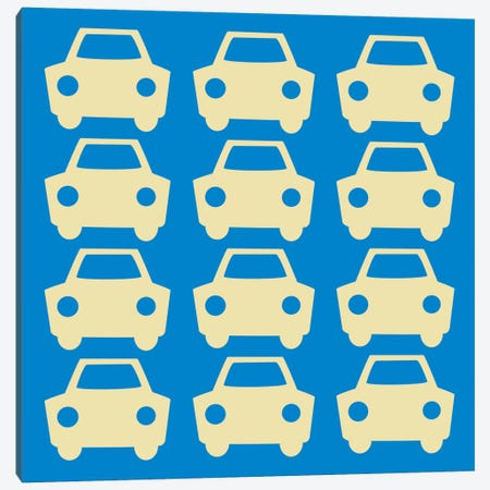 Beep Beep Blue Cars Canvas Print #KID24} by 5by5collective Canvas Art Print