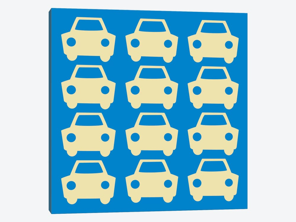 Beep Beep Blue Cars by 5by5collective 1-piece Canvas Wall Art