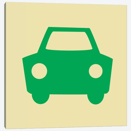 Beep Beep Green Car Canvas Print #KID25} by 5by5collective Art Print