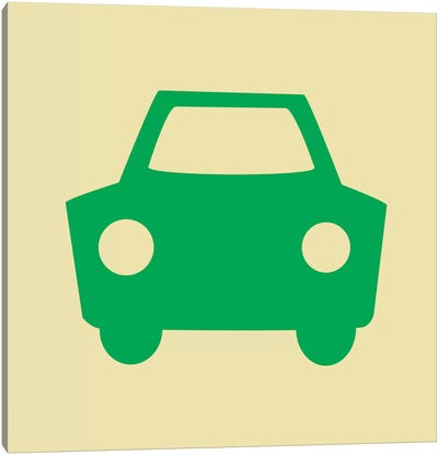 Beep Beep Green Car Canvas Art Print