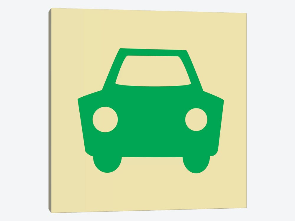 Beep Beep Green Car 1-piece Canvas Print