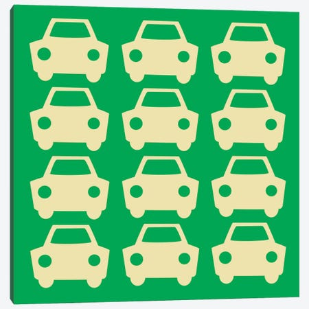 Beep Beep Green Cars Canvas Print #KID26} by 5by5collective Canvas Print