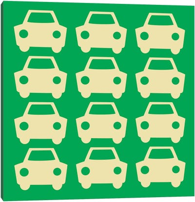 Beep Beep Green Cars Canvas Art Print