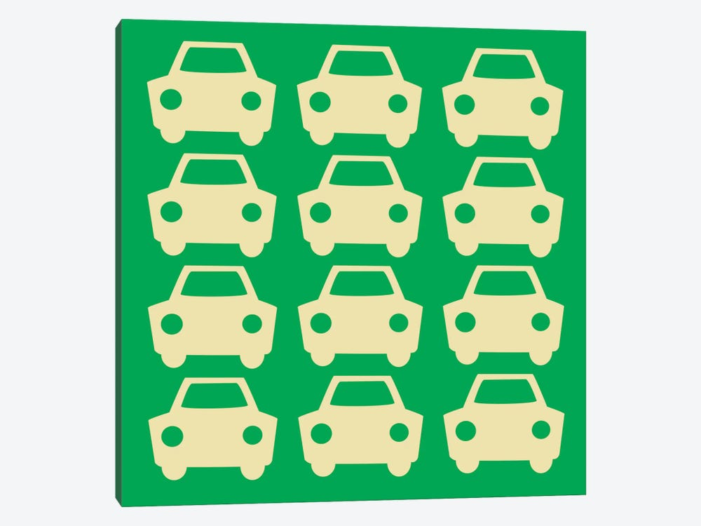 Beep Beep Green Cars by 5by5collective 1-piece Canvas Wall Art