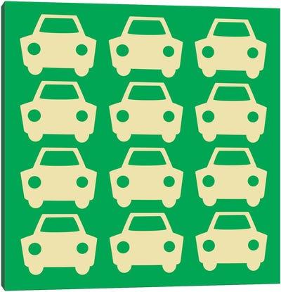 Beep Beep Green Cars Canvas Art Print