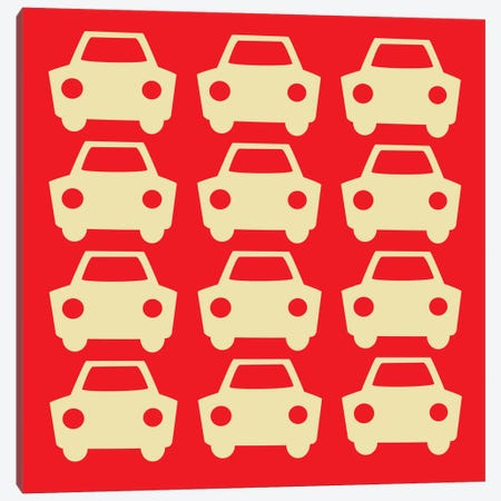 Beep Beep Red Cars Canvas Print #KID28} by 5by5collective Canvas Art