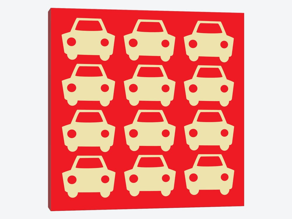 Beep Beep Red Cars by 5by5collective 1-piece Canvas Artwork