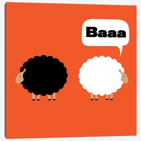 Baaa (Black & White Sheep) Canvas Print #KID29} by 5by5collective Canvas Art
