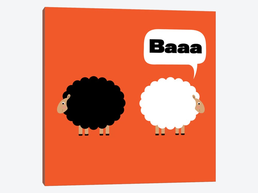 Baaa (Black & White Sheep) by 5by5collective 1-piece Art Print