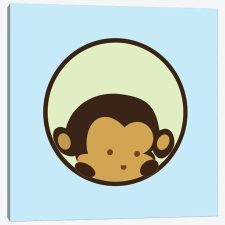 Monkey Face Blue Canvas Print #KID33} by 5by5collective Art Print