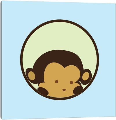 Monkey Face Blue Canvas Art Print
