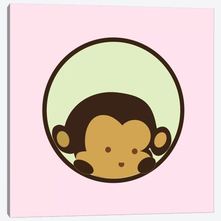 Monkey Face Pink Canvas Print #KID34} by 5by5collective Canvas Art