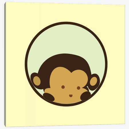Monkey Face Yellow Canvas Print #KID35} by 5by5collective Canvas Wall Art