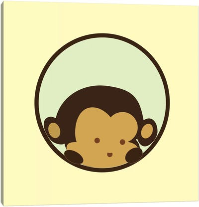 Monkey Face Yellow Canvas Art Print