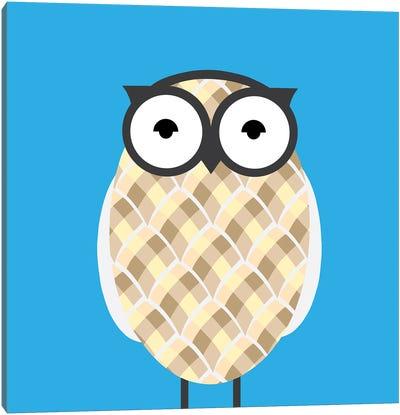 Owl Blue Canvas Print #KID37