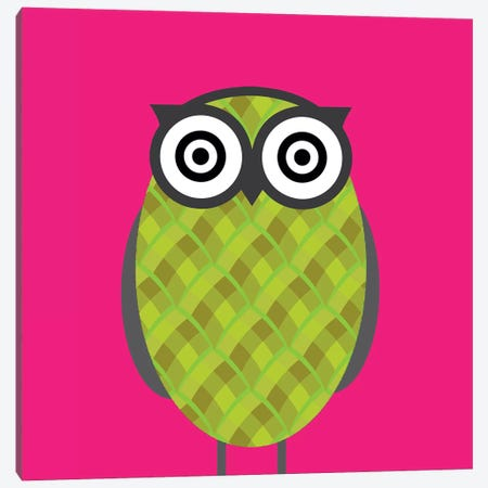 Owl Pink Canvas Print #KID38} by 5by5collective Canvas Art Print