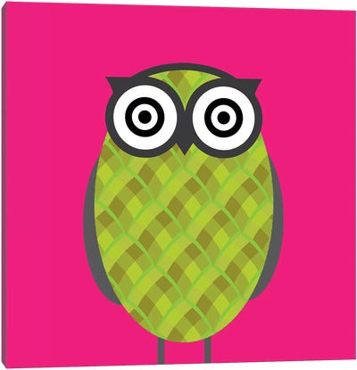 Owl Pink Canvas Print #KID38