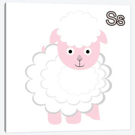 S is for Sheep Canvas Print #KID3} by 5by5collective Art Print