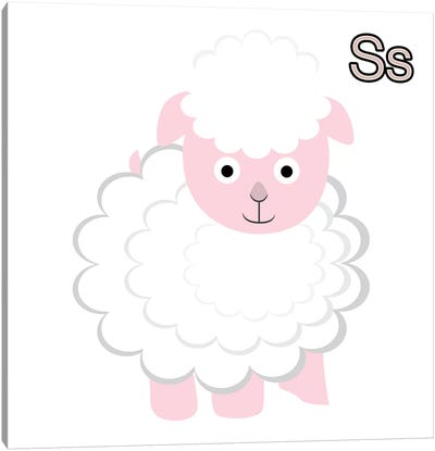 S is for Sheep Canvas Art Print