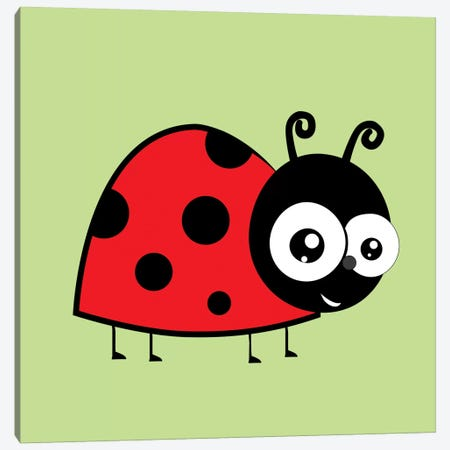 Lady Bug Green Canvas Print #KID40} by 5by5collective Canvas Artwork