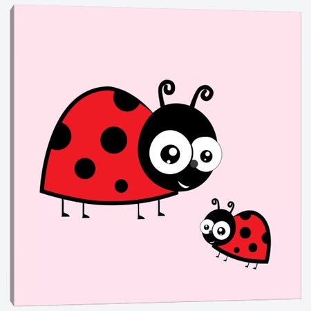 Lady Bug Pink Canvas Print #KID41} by 5by5collective Canvas Art