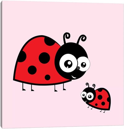 Lady Bug Pink Canvas Art Print