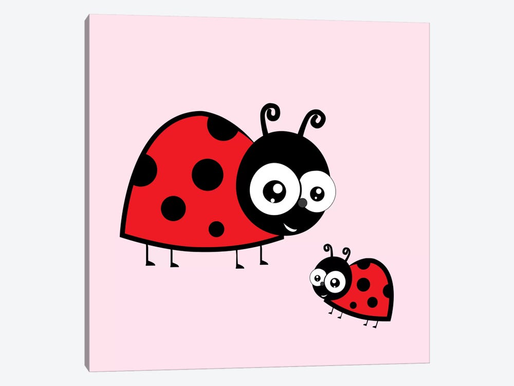 Lady Bug Pink by 5by5collective 1-piece Canvas Print