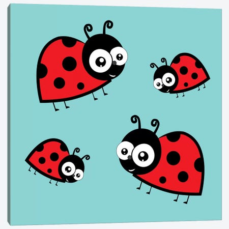 Lady Bug Blue Canvas Print #KID42} by 5by5collective Canvas Art